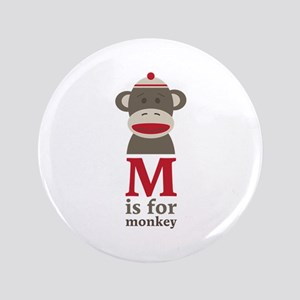 """M Is For Monkey 3.5"""" Button"""