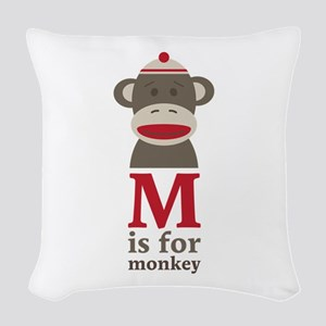 M Is For Monkey Woven Throw Pillow