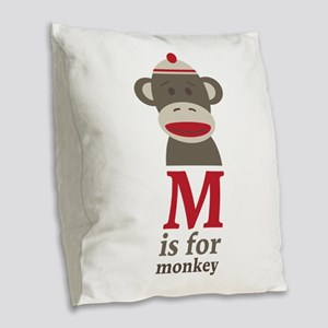 M Is For Monkey Burlap Throw Pillow