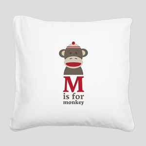 M Is For Monkey Square Canvas Pillow