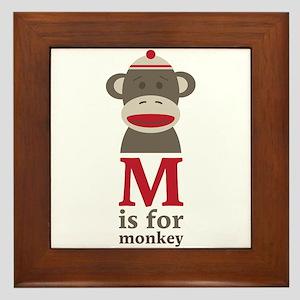 M Is For Monkey Framed Tile