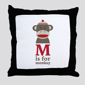 M Is For Monkey Throw Pillow