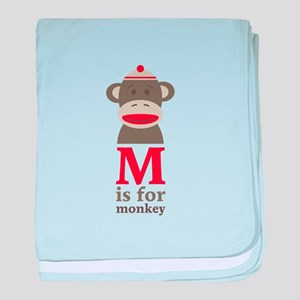M Is For Monkey baby blanket