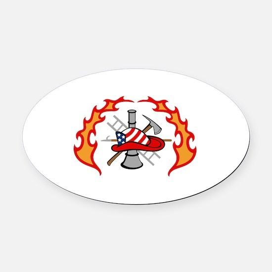 FIREFIGHTERS DESIGN Oval Car Magnet