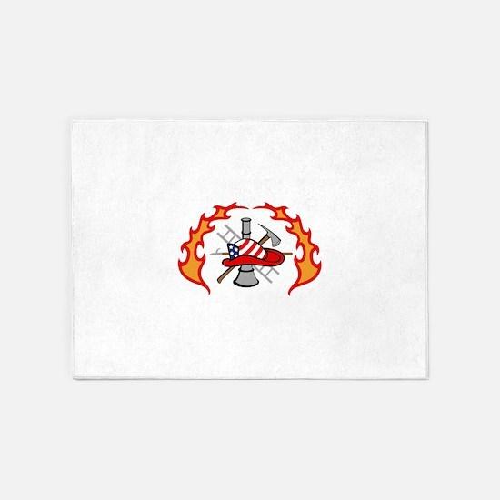 FIREFIGHTERS DESIGN 5'x7'Area Rug