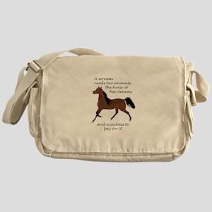 A WOMAN NEEDS TWO ANIMALS Messenger Bag