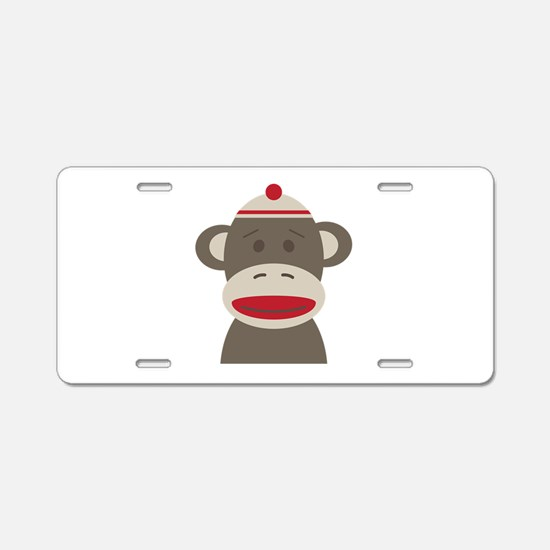 Sock Monkey Aluminum License Plate