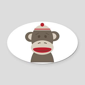 Sock Monkey Oval Car Magnet