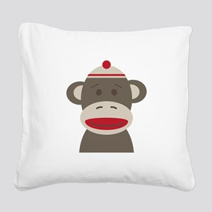 Sock Monkey Square Canvas Pillow
