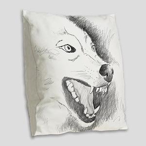 Wolf Sketch Burlap Throw Pillow