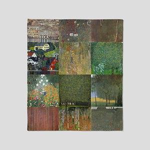 Landscapes collage by Klimt Throw Blanket