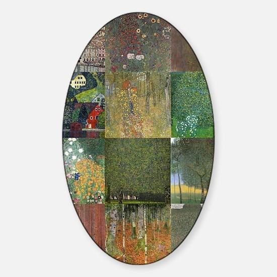 Landscapes collage by Klimt Sticker (Oval)