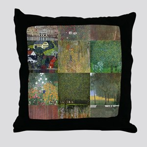 Landscapes collage by Klimt Throw Pillow