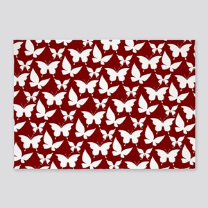 Red and White Pretty Butterflies Pa 5'x7'Area Rug
