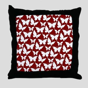 Red and White Pretty Butterflies Patt Throw Pillow