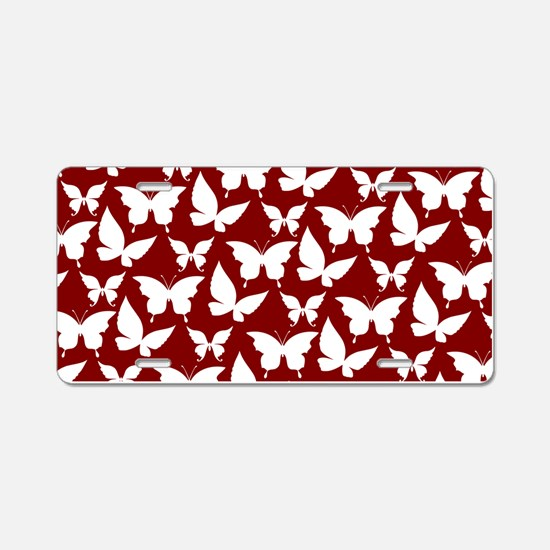 Red and White Pretty Butter Aluminum License Plate