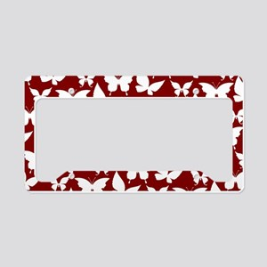 Red and White Pretty Butterfl License Plate Holder