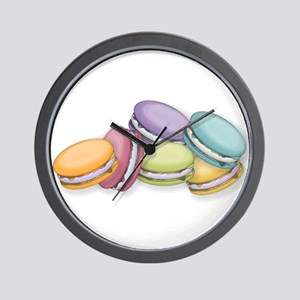 Colorful French Macaron Cookies Wall Clock