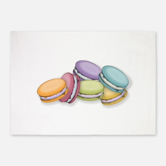Colorful French Macaron Cookies 5'x7'Area Rug