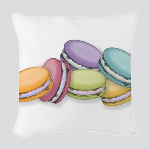 Colorful French Macaron Cookie Woven Throw Pillow
