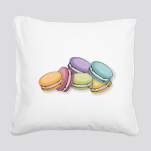 Colorful French Macaron Cooki Square Canvas Pillow