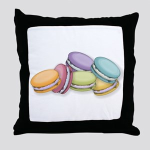 Colorful French Macaron Cookies Throw Pillow
