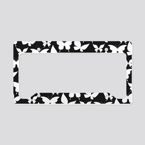 Black and White Pretty Butter License Plate Holder