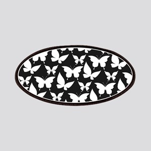 Black and White Pretty Butterflies Pattern Patches