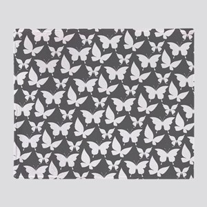Gray and White Pretty Butterflies Pa Throw Blanket
