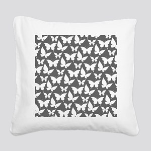 Gray and White Pretty Butterf Square Canvas Pillow
