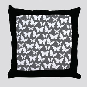 Gray and White Pretty Butterflies Pat Throw Pillow
