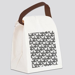 Gray and White Pretty Butterflies Canvas Lunch Bag