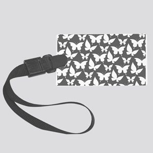 Gray and White Pretty Butterflie Large Luggage Tag