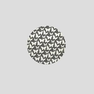 Gray and White Pretty Butterflies Patt Mini Button