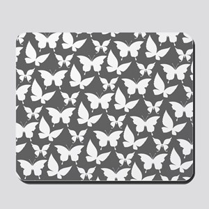 Gray and White Pretty Butterflies Patter Mousepad