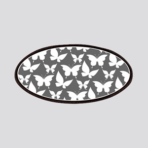Gray and White Pretty Butterflies Pattern Patches