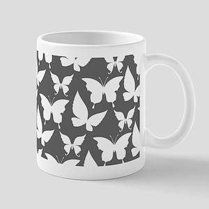 Gray and White Pretty Butterflies Patte Mug