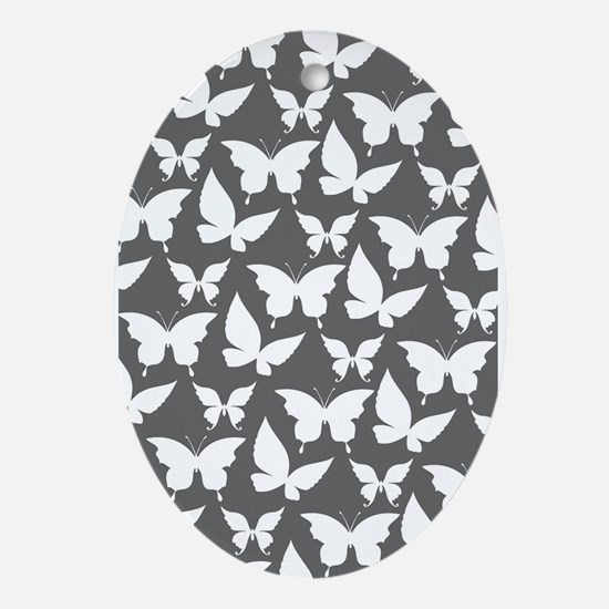 Gray and White Pretty Butterflies Ornament (Oval)