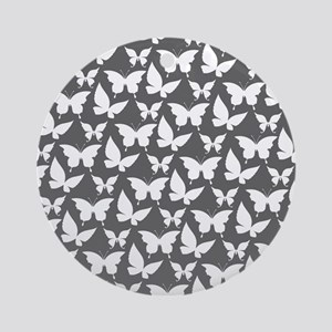 Gray and White Pretty Butterflies Ornament (Round)