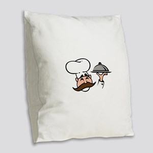 CHEF WITH FOOD Burlap Throw Pillow