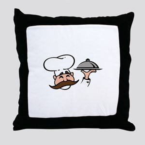CHEF WITH FOOD Throw Pillow
