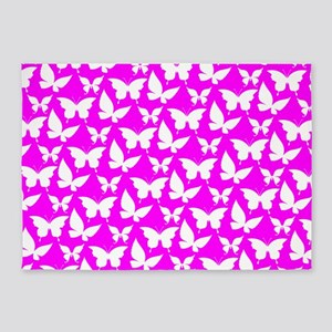 Fuchsia and White Pretty Butterflie 5'x7'Area Rug