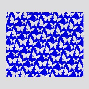 Blue and White Pretty Butterflies Pa Throw Blanket