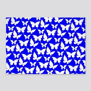 Blue and White Pretty Butterflies P 5'x7'Area Rug