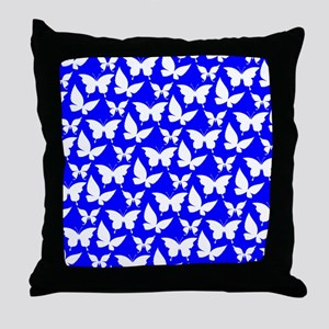 Blue and White Pretty Butterflies Pat Throw Pillow