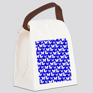 Blue and White Pretty Butterflies Canvas Lunch Bag
