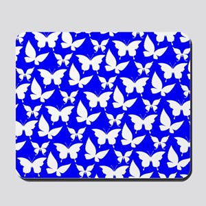 Blue and White Pretty Butterflies Patter Mousepad