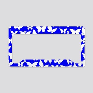 Blue and White Pretty Butterf License Plate Holder