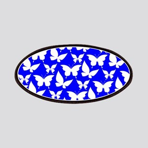 Blue and White Pretty Butterflies Pattern Patches