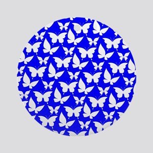 Blue and White Pretty Butterflies Ornament (Round)